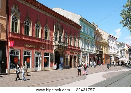 KOSICE SLOVAKIA -MAY 01 2014: Central street with old building in Kosice city Slovakia.
