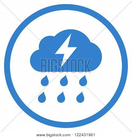 Thunderstorm vector icon. Picture style is flat thunderstorm rounded icon drawn with cobalt color on a white background.