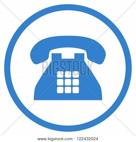 Tone Phone vector icon. Picture style is flat tone phone rounded icon drawn with cobalt color on a white background.