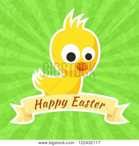 Easter greeting with small yellow chick and ribbon in retro style.