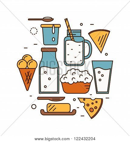 Dairy Product Icon Set. Milk, Cheese, Ice Cream, Butter and other Dairy Product. Different Milk Product in line style design. Dairy icon on white background. Isolated dairy products icon.