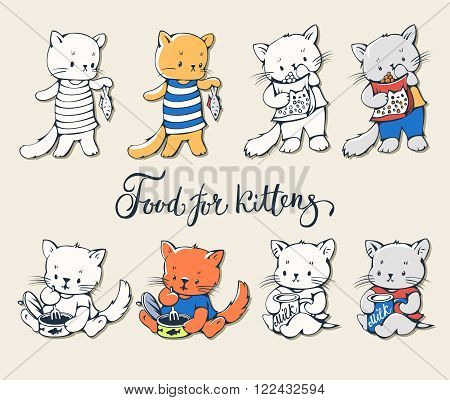 Illustration of funny cartoon kittens with food. Vector set.