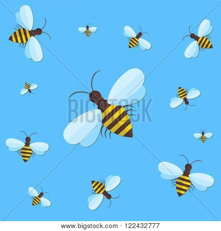 Bee sign icon. Bee on blue background. Flying insect. Flat icon of bee - vector illustration. Background with flying bees of various sizes can be used as a seamless.