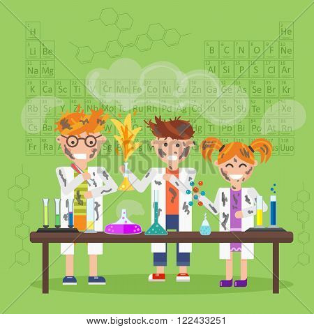 Chemistry laboratory, chemistry equipment. Experimenting chemistry science in the laboratory. Children are studying and working in chemistry lab. Scientific experiments, tests, study, kids. Raster.
