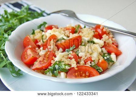 Salad with arugula tomato quinoa and cheese front horizontal view