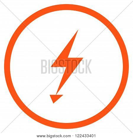 Electric Strike vector icon. Picture style is flat electric strike rounded icon drawn with orange color on a white background.