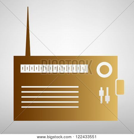 Radio sign. Flat style icon with golden gradient