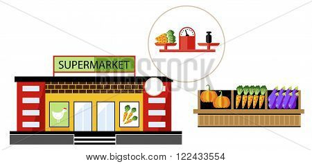 Local shop or local supermarket with natural product. Vegetable from farm. Raster illustration.