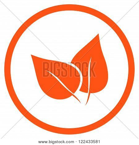Flora Plant vector icon. Picture style is flat flora plant rounded icon drawn with orange color on a white background.