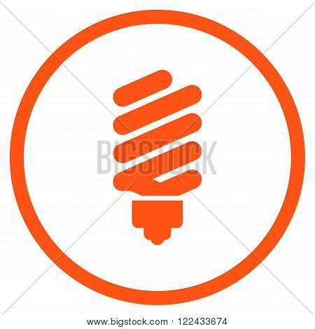 Fluorescent Bulb vector icon. Picture style is flat fluorescent bulb rounded icon drawn with orange color on a white background.