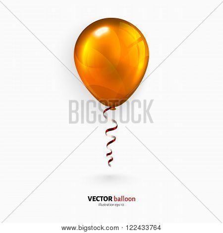 Orange party flying balloon with red streamer isolated on white background.