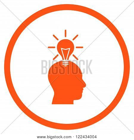 Genius Bulb vector icon. Picture style is flat genius bulb rounded icon drawn with orange color on a white background.