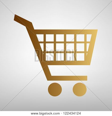 Shopping cart sign. Flat style icon with golden gradient
