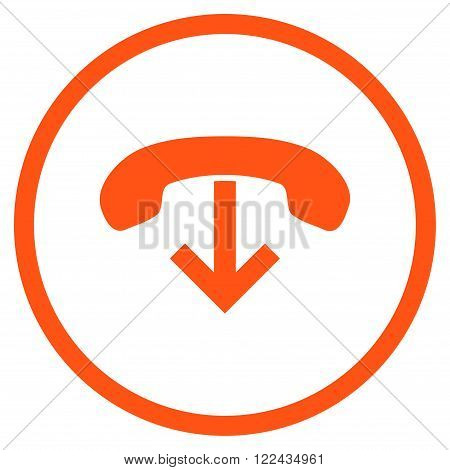 Telephone Hang Up vector icon. Picture style is flat phone hang up rounded icon drawn with orange color on a white background.