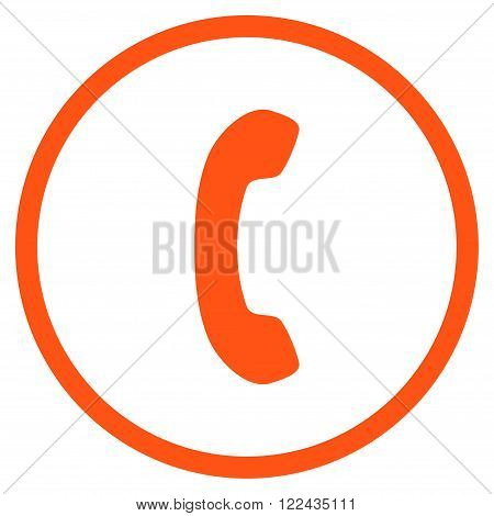 Telephone Receiver vector icon. Picture style is flat phone receiver rounded icon drawn with orange color on a white background.