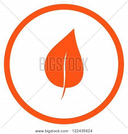 Plant Leaf vector icon. Picture style is flat plant leaf rounded icon drawn with orange color on a white background.