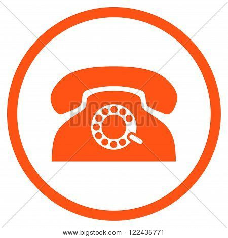 Pulse Phone vector icon. Picture style is flat pulse phone rounded icon drawn with orange color on a white background.