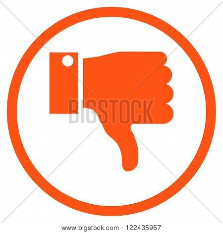 Thumb Down vector icon. Picture style is flat thumb down rounded icon drawn with orange color on a white background.