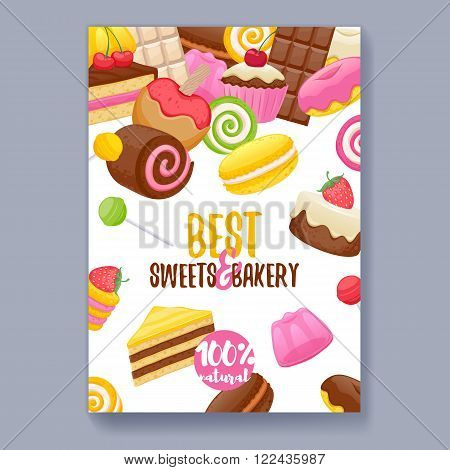 Assorted sweets colorful background. Lollipops, cake, macarons, chocolate bar, candies and donut on shine background. Poster cover design.