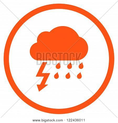 Thunderstorm vector icon. Picture style is flat thunderstorm rounded icon drawn with orange color on a white background.