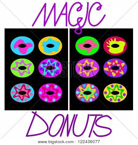 Simplified flat image virulently trendy-colored donuts on a black plate with the inscription