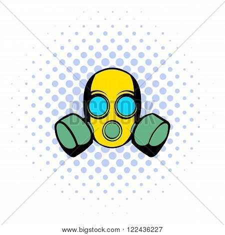 Respirator icon in comics style isolated on halftone background