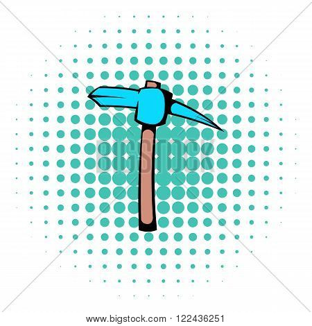 Pickaxe icon in comics style isolated on halftone background