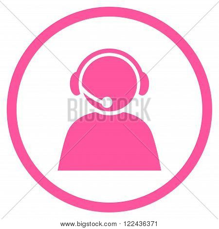 Call Center Operator vector icon. Picture style is flat call center operator rounded icon drawn with pink color on a white background.