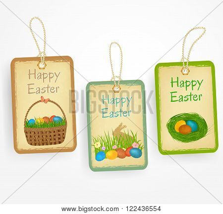 Eastern labels in vintage style with eastern eggs, eastern basket, bunny, grass. Vector vintage stickers.