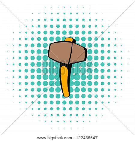 Sledgehammer icon in comics style isolated on halftone background