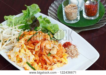 Pad Thai (Stir-Fried Thai Noodles with Prawns). The popular Thai dish.