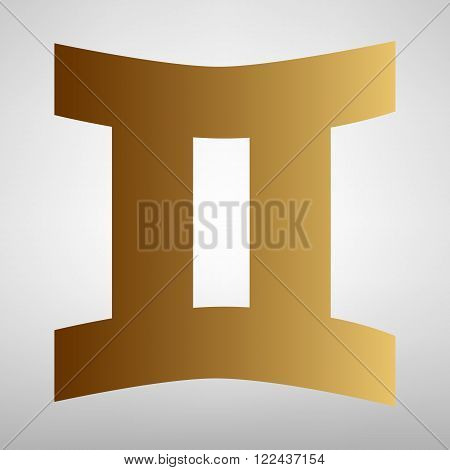Gemini sign. Flat style icon with golden gradient