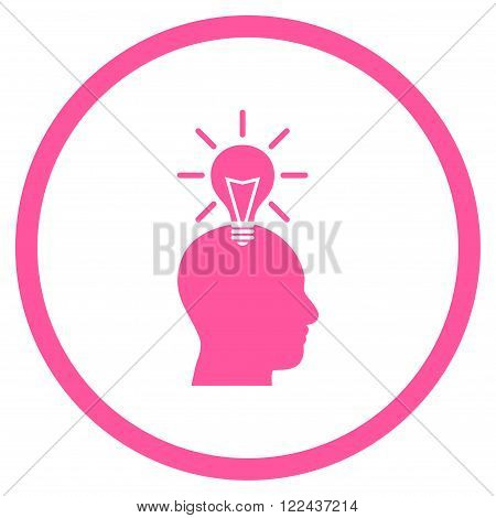 Genius Bulb vector icon. Picture style is flat genius bulb rounded icon drawn with pink color on a white background.