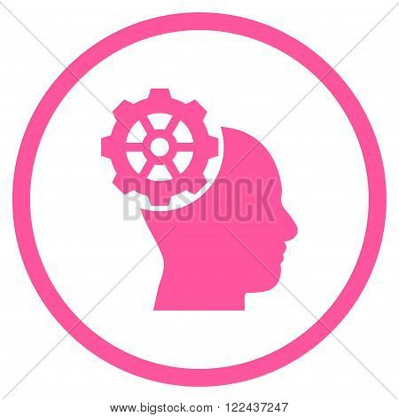 Head Gear vector icon. Picture style is flat head gear rounded icon drawn with pink color on a white background.