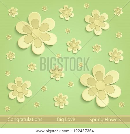 Flowers Spring paper 3D green yellow vector
