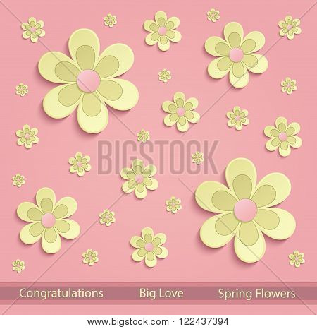 Flowers Spring paper 3D pink yellow vector