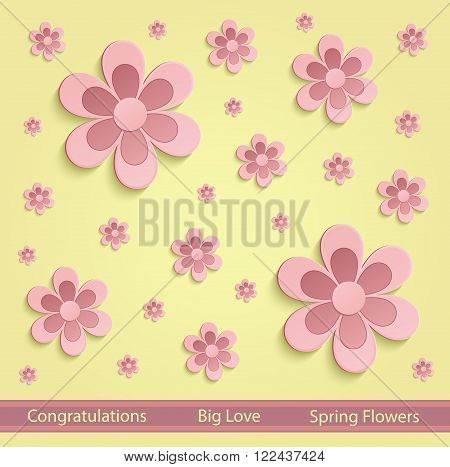 Flowers Spring paper 3D yellow pink vector