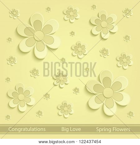 Flowers Spring paper 3D yellow vector template