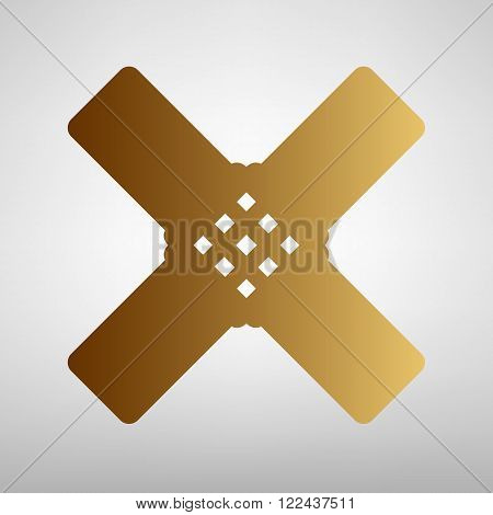 Aid sticker sign. Flat style icon with golden gradient