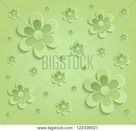 Flowers Spring paper 3D green wallpaper raster