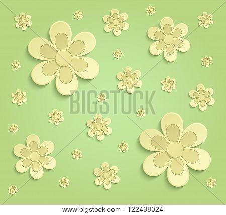 Flowers Spring paper 3D green yellow wallpaper raster