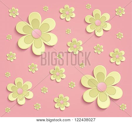 Flowers Spring paper 3D pink yellow wallpaper raster