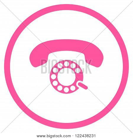 Pulse Dialing vector icon. Picture style is flat pulse dialing rounded icon drawn with pink color on a white background.