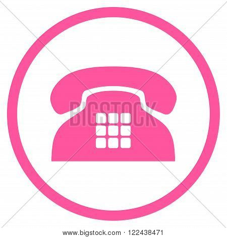 Tone Telephone vector icon. Picture style is flat tone phone rounded icon drawn with pink color on a white background.