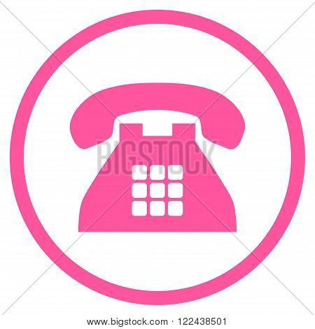 Tone Phone vector icon. Picture style is flat tone phone rounded icon drawn with pink color on a white background.