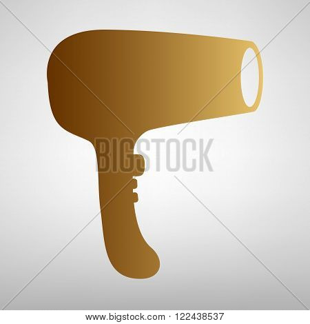 Hair Dryer sign. Flat style icon with golden gradient