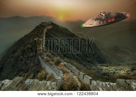 Flight of an unidentified flying object over the mountains of China.