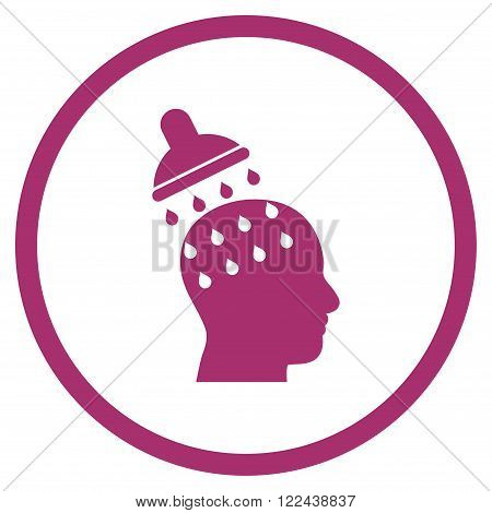 Brain Washing vector icon. Picture style is flat brain washing rounded icon drawn with purple color on a white background.