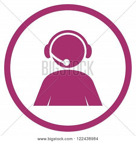 Call Center Operator vector icon. Picture style is flat call center operator rounded icon drawn with purple color on a white background.