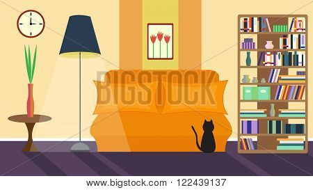 Living room. Vector home interior in flat style. Sofa and lamp, book rack and coffee table, picture and vase